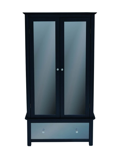 Ayr Carbon Painted Mirrored Glass 2 Door 1 Drawer Wardrobe