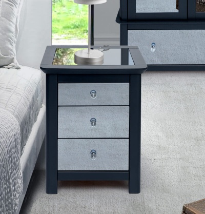 Ayr Carbon Painted Mirrored Glass 3 Drawer Bedside Cabinet