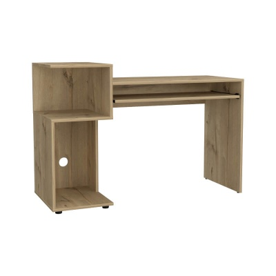 Brooklyn Desk with Low Shelving Unit - Bleached Pine Effect