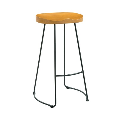 Bailey Wooden Seat and Black Metal Leg Bar Stool