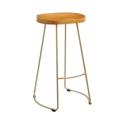 Bailey Wooden Seat Gold Effect Metal Leg Bar Stool