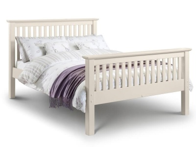 Barcelona Stone White Double Bed Frame - High Foot End