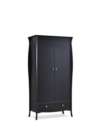 Baroque Black 2 Door 1 Drawer Wardrobe