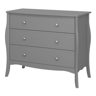 Baroque Grey 3 Drawer Wide Chest