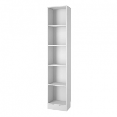 Basic Tall Narrow Bookcase in White