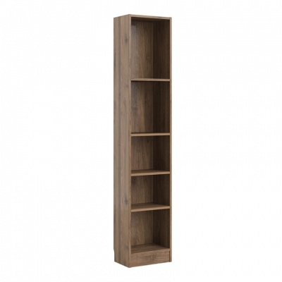 Basic Tall Narrow Bookcase in Walnut Woodgrain