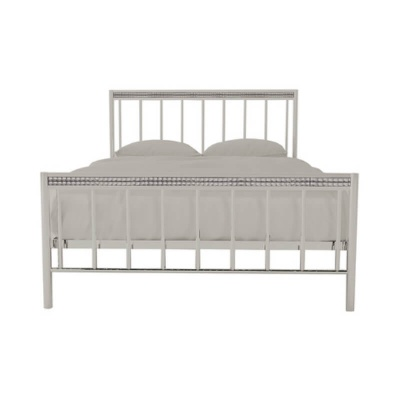 Bellini Metal Silver King-Size Bed Frame with Crystal Embellishments
