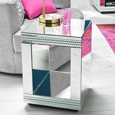 Biarritz Cube Mirrored Lamp Table