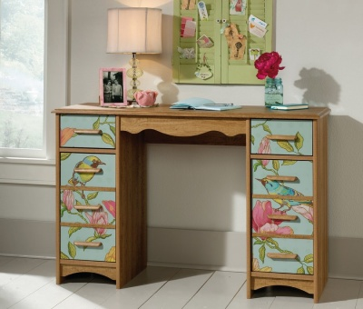 boutique style desk feature bird and floral pattern