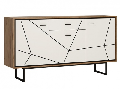 Brolo 3 Door 1 Drawer Sideboard - White, Walnut and Dark Finish