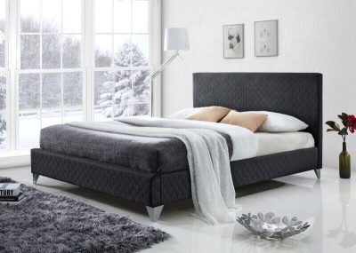Brooklyn Dark Grey Fabric Bed Frame - King-Size