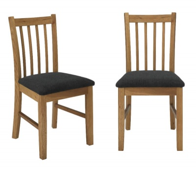 Brooklyn Dining Chair Oak with Faux Leather Seat - Pair