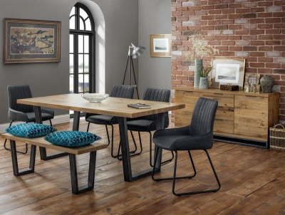 Brooklyn Oak Dining Table with 4 Soho Dining Chairs & Bench