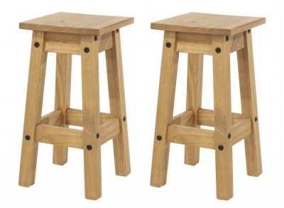 Corona Solid Pine Low Kitchen Stool - Pair