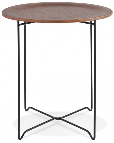 Industrial Style Walnut Veneer Side Table