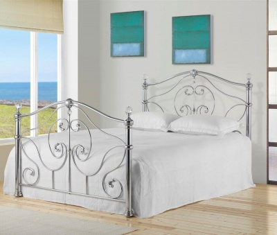 Cadiz Chrome Metal Bed Frame - Double