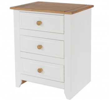 Capri White Bedside Table - Three Drawers