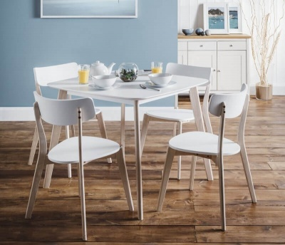 Casa Retro White & Oak Dining Table & 4 Chair Set