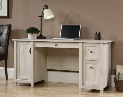 Chalked Wood Computer Desk - Chalked Chestnut Finish
