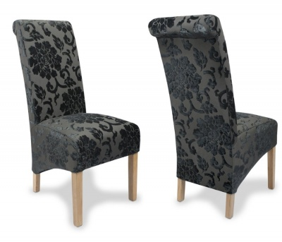 Baroque Charcoal Roll Back Dining Chairs - Pair