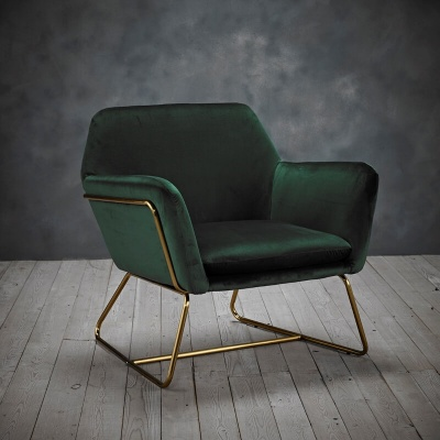 Charles Gold Frame Armchair Racing Green