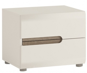 Chelsea 2 Drawer Bedside Table - White with Truffle Oak Trim