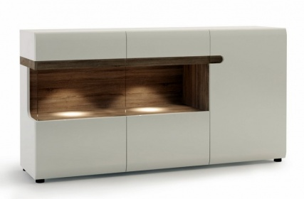 Chelsea Living 3 Door Glazed Sideboard - White with Truffle Oak Trim