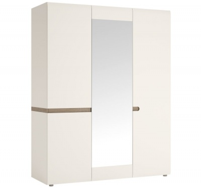 Chelsea 3 Door Wardrobe With Mirror - White with Truffle Oak Trim