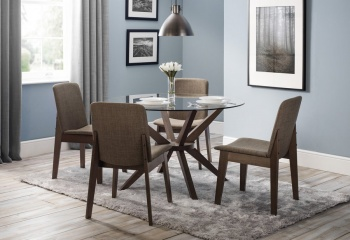 Chelsea Glass  Round Pedestal Dining Table & 4 Kensignton Chairs Set