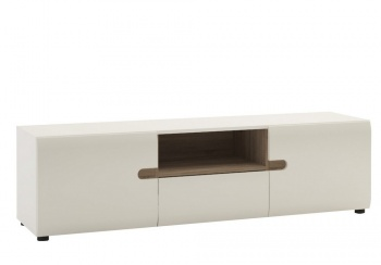 Chelsea Wide TV Unit - White with Truffle Oak Trim