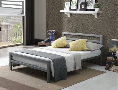 City Block Grey Metal Double Bed Frame