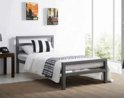 City Block Grey Metal Single Bed Frame