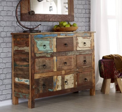 Coastal 9 Drawer Chest  - Rustic Reclaimed Wood