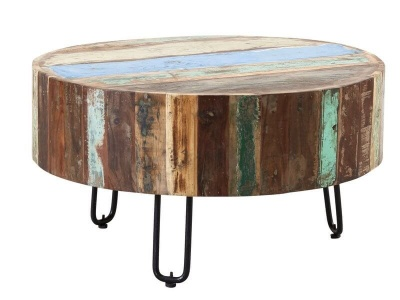 Coastal Drum Coffee Table  - Rustic Reclaimed Wood