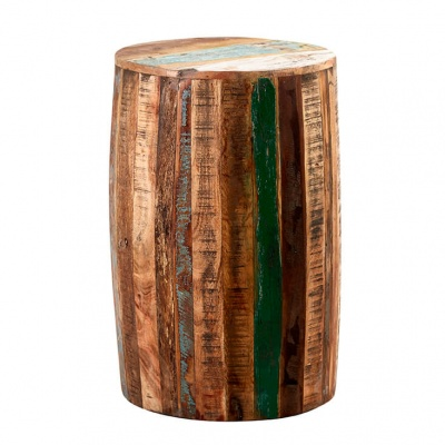 Coastal Drum Stool  - Rustic Reclaimed Wood