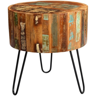 Coastal Drum Side Table  - Rustic Reclaimed Wood