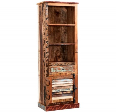 Coastal Narrow Bookcase - Rustic Reclaimed Wood