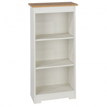 Colorado Warm White Low Narrow Bookcase