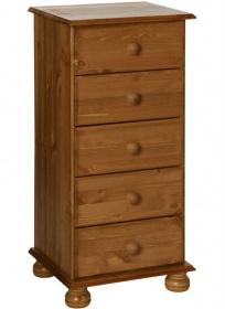 Copenhagen Pine 5 Drawer Narrow Chest