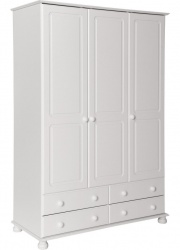 Copenhagen White 3 Door 4 Drawer Wardrobe