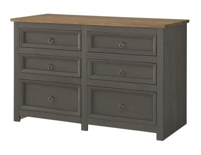Corona Carbon Grey 3 + 3 Drawer Wide Chest