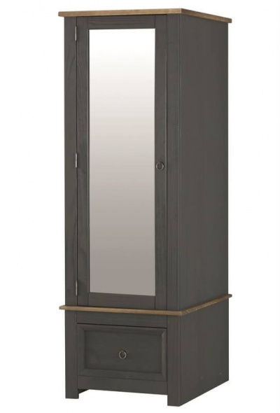 Corona Carbon Grey Single Wardrobe with Mirrored Door