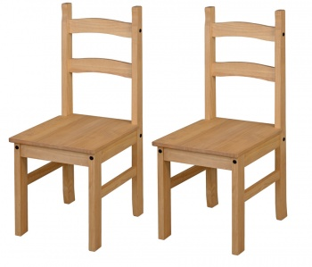 Corona Solid Pine Dining Chairs - Pair
