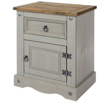 Corona Grey Washed 1 Door 1 Drawer Bedside Cabinet