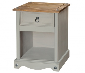 Corona Grey Washed 1 Drawer Bedside Cabinet