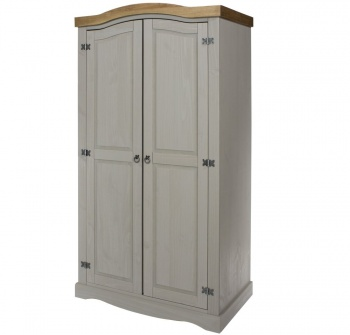 Corona Grey Washed 2 Door Wardrobe