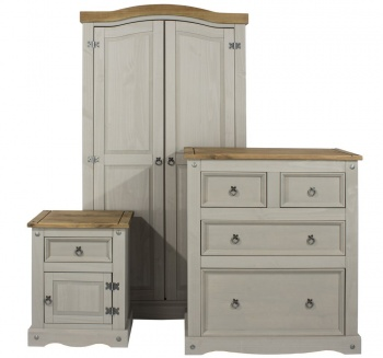 Corona Grey 3 Piece Bedroom Set - Wardrobe, Chest, Bedside