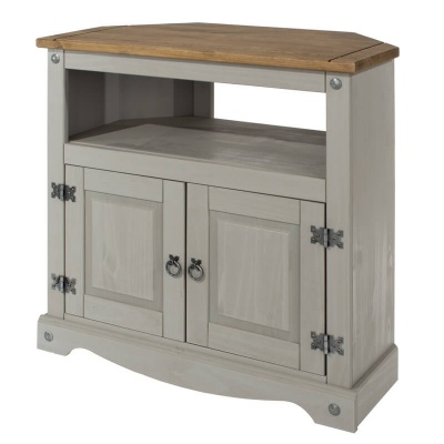 Corona Grey Washed Corner TV Cabinet
