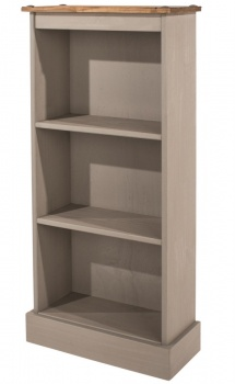Corona Grey Washed Low Narrow Bookcase
