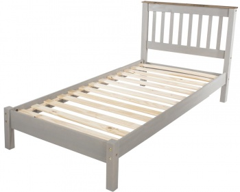 Corona Grey Washed Single Bed Frame - Low Foot End